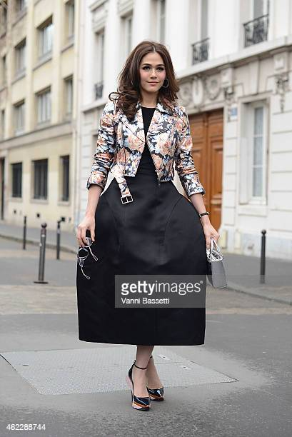 Actress Araya Alberta Hargate poses wearing a Dior total look during day two of Paris Haute Couture Spring Summer 2015 on January 26 2015 in Paris...