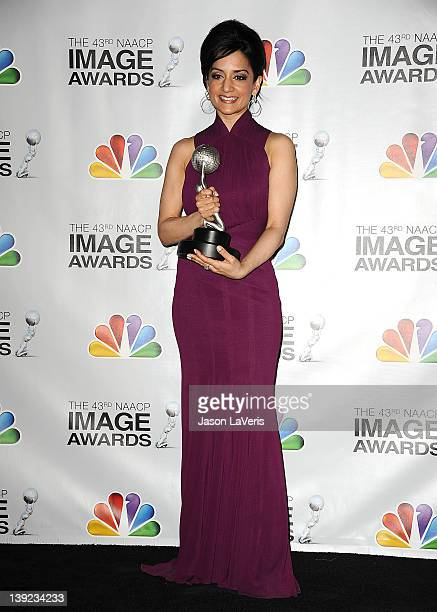 Actress Archie Panjabi poses in the press room at the 43rd annual NAACP Image Awards at The Shrine Auditorium on February 17 2012 in Los Angeles...