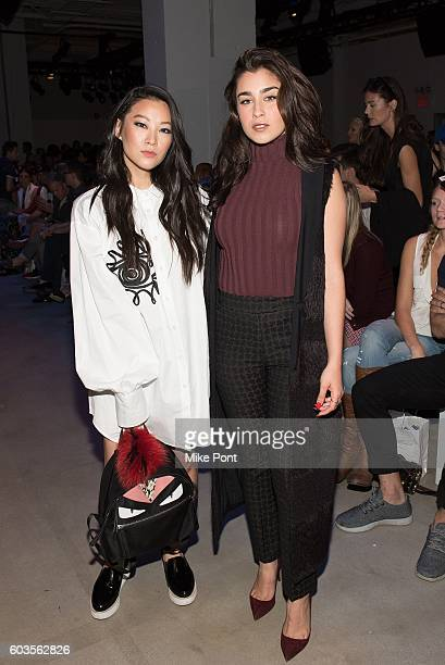 Actress Arden Cho and Lauren Jauregui of the musical group Fifth Harmony attend the Leanne Marshall fashion show during New York Fashion Week...
