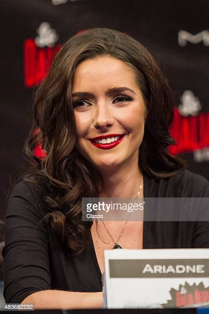 Actress Ariadne Diaz talks to the media during the presentation of the new staging 'La Dalia Negra' at Foro Chapultepec on August 11 2015 in Mexico...