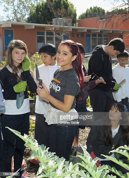 Actress Ariana Grande along with fellow castmembers of Nickelodeon's hit series Victorious in partnership with Nickelodeon's The Big Help and...
