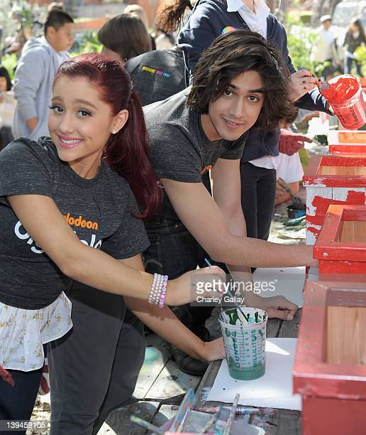 Actress Ariana Grande and actor Avan Jogia along with fellow castmembers of Nickelodeon's hit series Victorious in partnership with Nickelodeon's The...