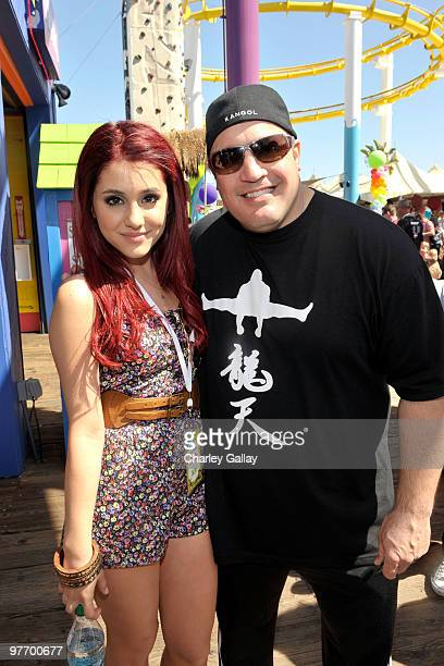 Actress Ariana Grande and actor/comedian Kevin James attend the MakeAWish Foundation's Day of Fun hosted by Kevin Steffiana James held at Santa...