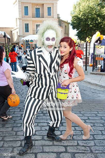 Actress Ariana Grande and Beetlejuice attend Camp Ronald McDonald For Good Times' 19th Annual Halloween Carnival at Universal Studios on October 23...