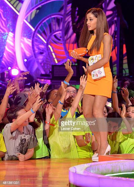 Actress Ariana Grande appears onstage during Nickelodeon's 27th Annual Kids' Choice Awards held at USC Galen Center on March 29 2014 in Los Angeles...