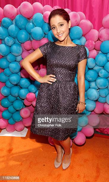 Actress Ariana Grande arrives at Nickelodeon's exclusive premiere for the upcoming primetime TV event of the summer 'iParty with Victorious' Saturday...