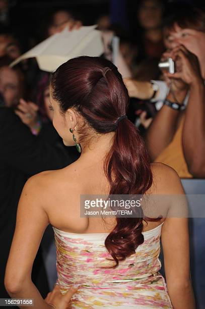 Actress Ariana Grande arrives at the premiere of Summit Entertainment's 'The Twilight Saga Breaking Dawn Part 2' at Nokia Theatre LA Live on November...