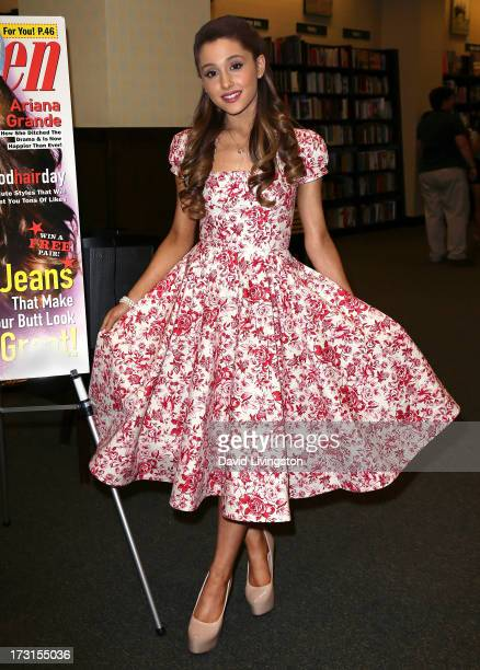 Actress Ariana Grande signs copies of the August edition of Seventeen Magazine at Barnes & Noble at The Americana at Brand on July 8, 2013 in Los...