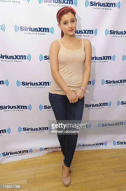 Actress Ariana Grande visits Broadway Names With Julie James on on SiriusXM's On Broadway channel at SiriusXM Studio on July 18 2011 in New York City