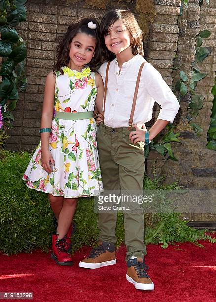 Actress Ariana Greenblatt and actor Malachi Barton attend the premiere of Disney's 'The Jungle Book' at the El Capitan Theatre on April 4 2016 in...