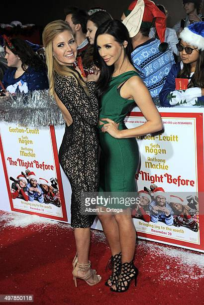 Actress Ariana Madix and actress Scheana Marie arrive for the Premiere Of Columbia Pictures' The Night Before held at The Theatre At The Ace Hotel on...