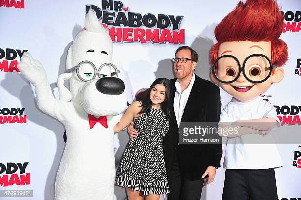 """Actress Ariel Winter and director Rob Minkoff, arrive at the Premiere of Twentieth Century Fox and DreamWorks Animation's """"Mr. Peabody & Sherman"""" at..."""