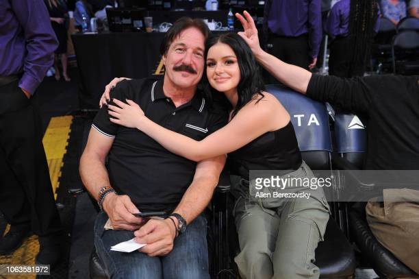 Actress Ariel Winter and her father Glenn Workman attend a basketball game between the Los Angeles Lakers and the Toronto Raptors at Staples Center...