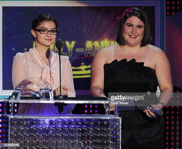 Actress Ariel Winter and honoree EmilyAnne Rigal speak onstage during Nickelodeon's 2011 TeenNick HALO Awards held at the Hollywood Palladium on...