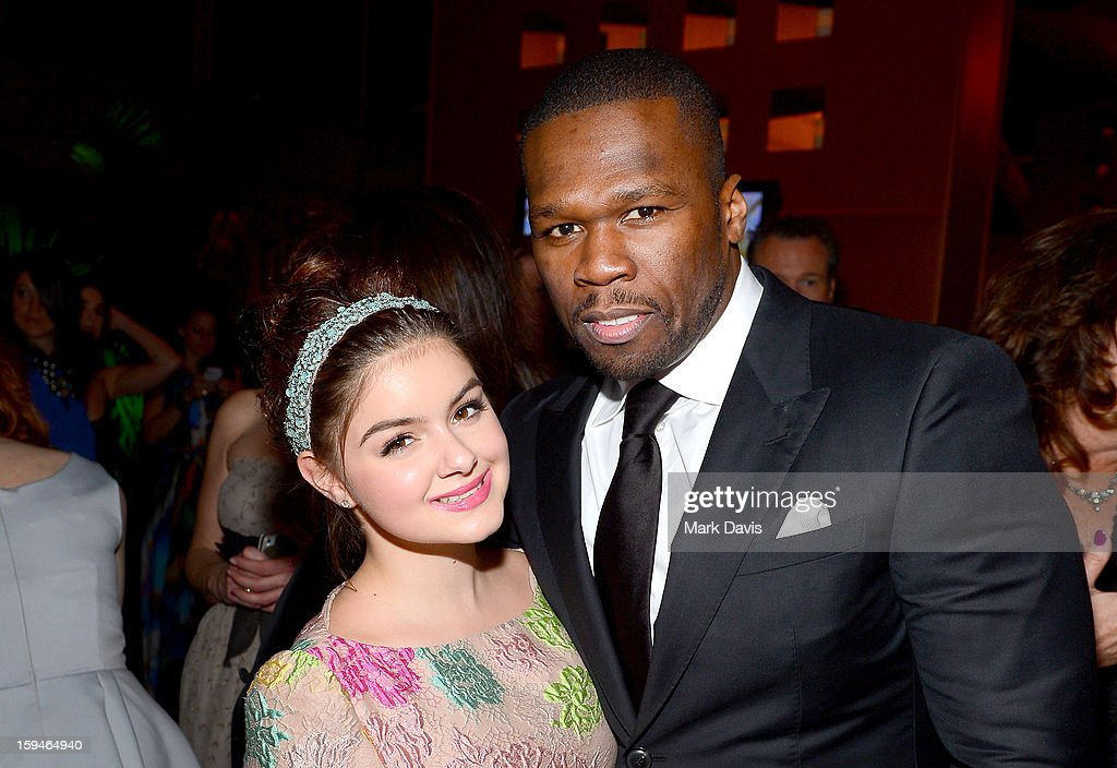 Actress Ariel Winter (L) and rapper 50 Cent attend the FOX After Party for the 70th Annual Golden Globe Awards held at The FOX Pavillion at The Beverly Hilton Hotel on January 13, 2013 in Beverly Hills, California.