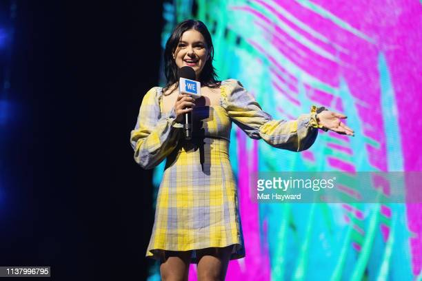 Actress Ariel Winter speaks on stage during WE Day at Tacoma Dome on April 18 2019 in Tacoma Washington
