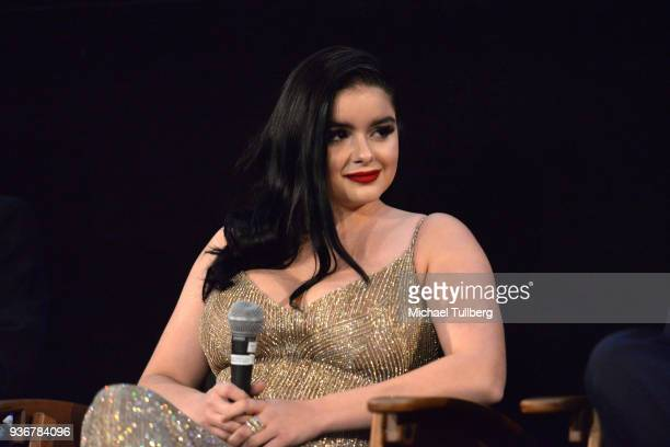 Actress Ariel Winter watches the audience during a QA session at the Los Angeles premiere of 'The Last Movie Star' at the Egyptian Theatre on March...