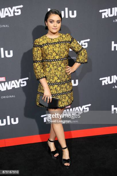 Actress Ariela Barer arrives at the premiere of Hulu's 'Marvel's Runaways' at the Regency Bruin Theatre on November 16 2017 in Los Angeles California