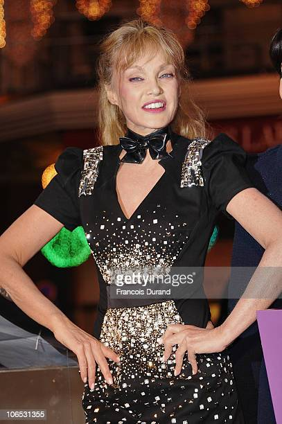 Actress Arielle Dombasle attends the launch of the Christmas animation and light window display at Galeries Lafayette on November 4 2010 in Paris...