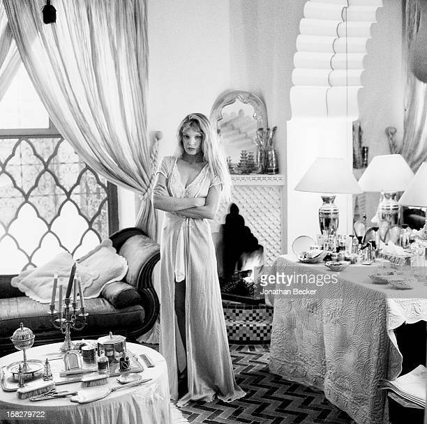 Actress Arielle Dombasle is photographed for Vanity Fair Magazine on March 16, 2002 at Bernard-Henri Levy's eighteenth century palace in Marrakech,...
