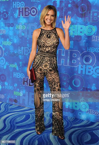 Actress Arielle Kebbel arrives at HBO's Post Emmy Awards Reception at The Plaza at the Pacific Design Center on September 18 2016 in Los Angeles...