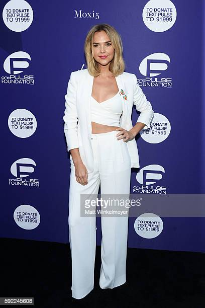 Actress Arielle Kebbel arrives at the Benefit for onePULSE Foundation at NeueHouse Hollywood on August 19 2016 in Los Angeles California
