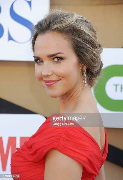 Actress Arielle Kebbel arrives at the CBS/CW/Showtime Television Critic Association's summer press tour party at 9900 Wilshire Blvd on July 29 2013...