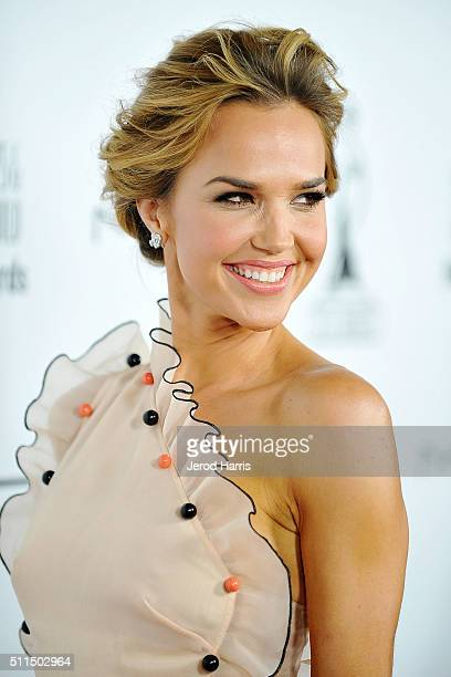 Actress Arielle Kebbel arrives at the MakeUp Artists and Hair Stylists Guild Awards at Paramount Studios on February 20 2016 in Hollywood California