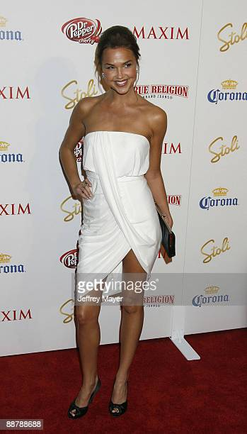 Actress Arielle Kebbel arrives at the Maxim's 10th Annual Hot 100 Celebration at The Barker Hanger on May 13 2009 in Santa Monica California