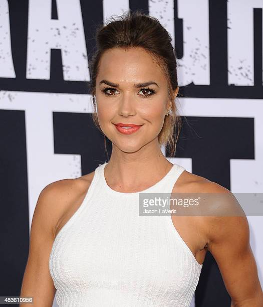 Actress Arielle Kebbel attends the premiere of Straight Outta Compton at Microsoft Theater on August 10 2015 in Los Angeles California