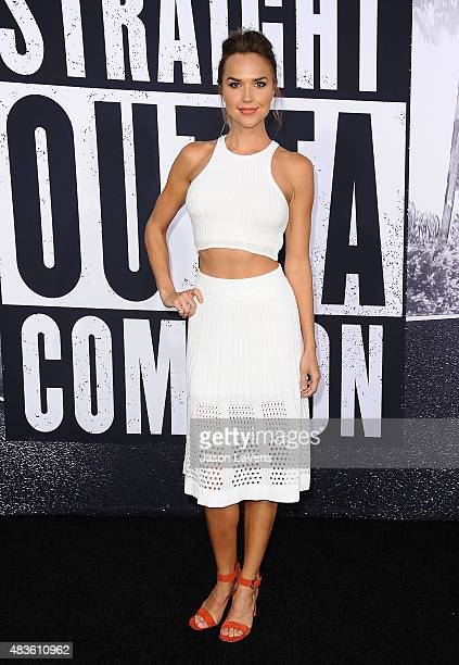 Actress Arielle Kebbel attends the premiere of 'Straight Outta Compton' at Microsoft Theater on August 10 2015 in Los Angeles California