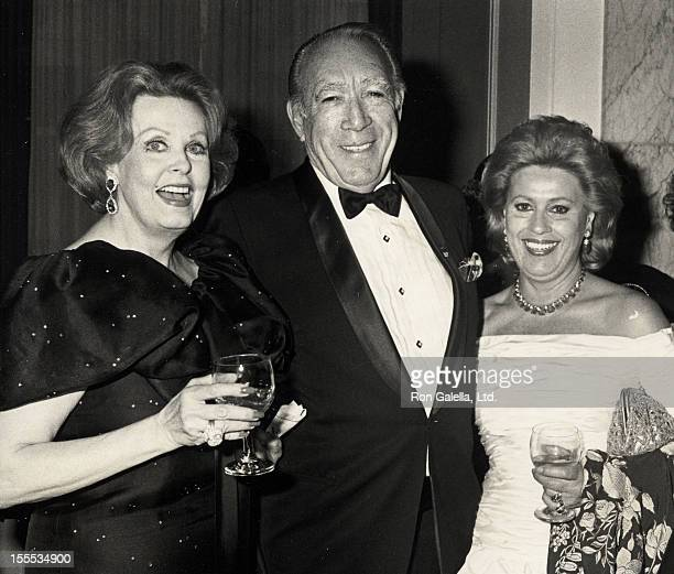 Actress Arlene Dahl Actor Anthony Quinn and wife Jolanda Addolori attend The Fragrance Foundation's 19th Annual FiFi Awards on June 5 1991 at the...