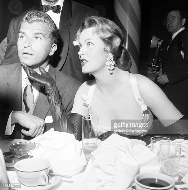 Actress Arlene Dahl and actor Fernando Lamas attend a dinner in Los Angeles California
