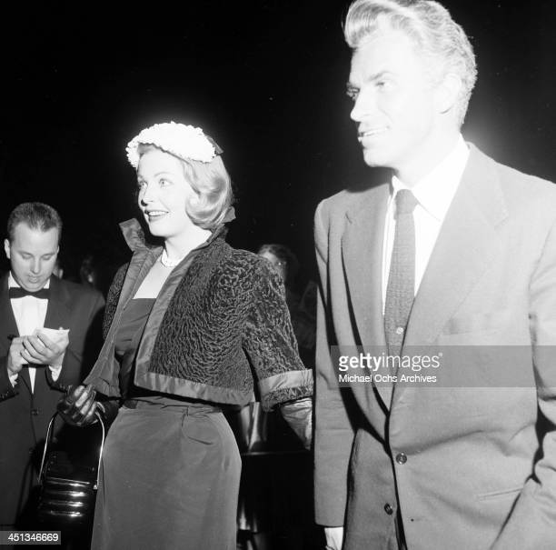 Actress Arlene Dahl and actor Fernando Lamas attend an opening in Los Angeles California