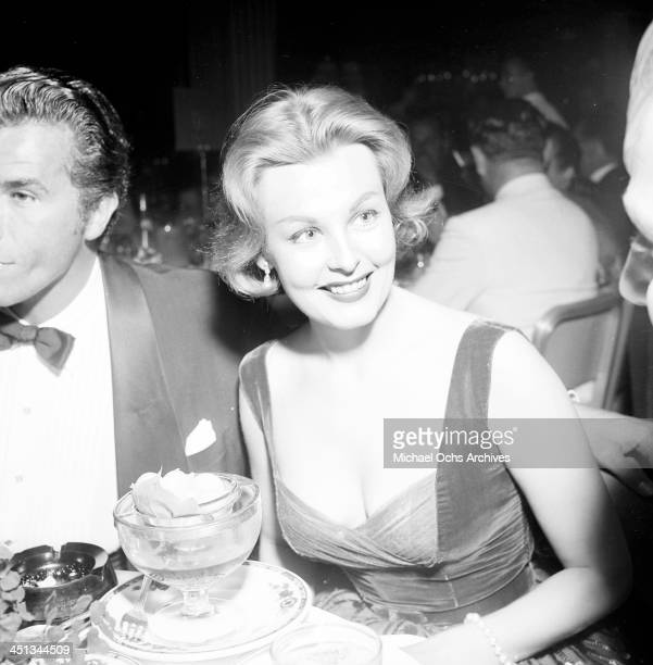 Actress Arlene Dahl and actor Fernando Lamas attends a premiere in Los Angeles California