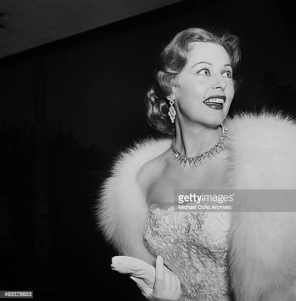 Actress Arlene Dahl arrives at a party in Los Angeles California