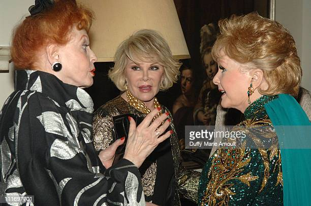 Actress Arlene Dahl Debbie Reynolds and Comedian Joan Rivers attend the opening night of Debbie Reynolds An Evening of Music and Comedy at Cafe...