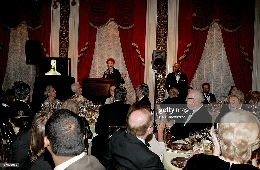 Actress Arlene Dahl speaks at the start of dinner during the Academy of Motion Picture Arts & Sciences New York Oscar Night Celebration at The St. Regis Hotel March 5, 2006 in New York City.