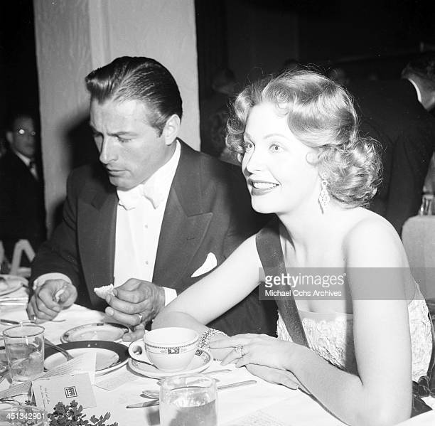 Actress Arlene Dahl with Lex Baker attends the Foreign Press Awards in Los Angeles California