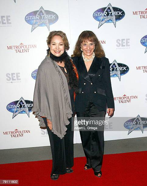 Actress Arlene Martel and actress Tanya Lemani arrives at Star Trek The Tour Opening Night Gala at the Queen Mary Dome on January 17 2008 in Long...