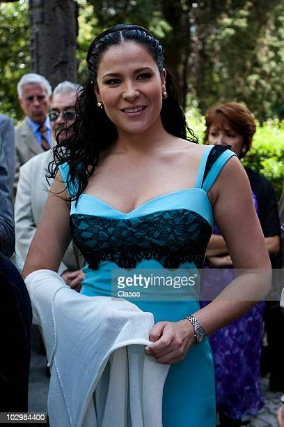 Actress Arleth Teran during the recording of the main characters' wedding in the soap opera Zacatillo Un Lugar En Tu Corazon on July 19 2010 in...