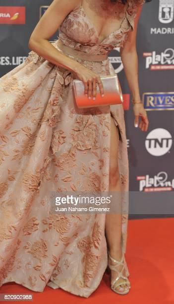Actress Arlette Torres leg detail attends the 'Platino Awards 2017' photocall at La Caja Magica on July 22 2017 in Madrid Spain
