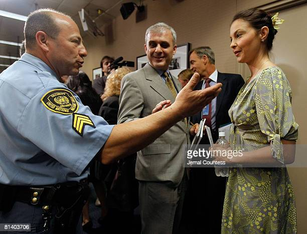 Actress Ashely Judd speaks to members of the press following a special thematic debate at the United Nations to focus global attention on Human...
