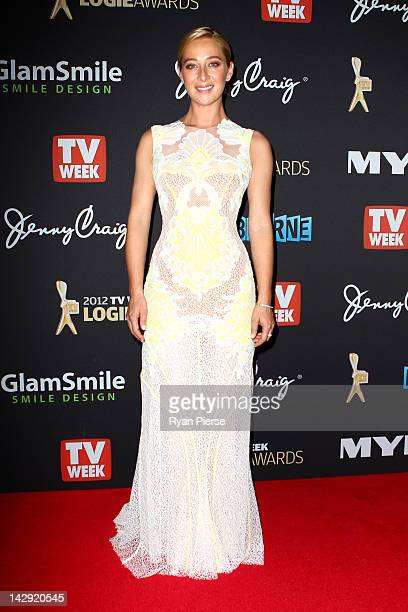 Actress Asher Keddie arrives at the 2012 Logie Awards at the Crown Palladium on April 15 2012 in Melbourne Australia