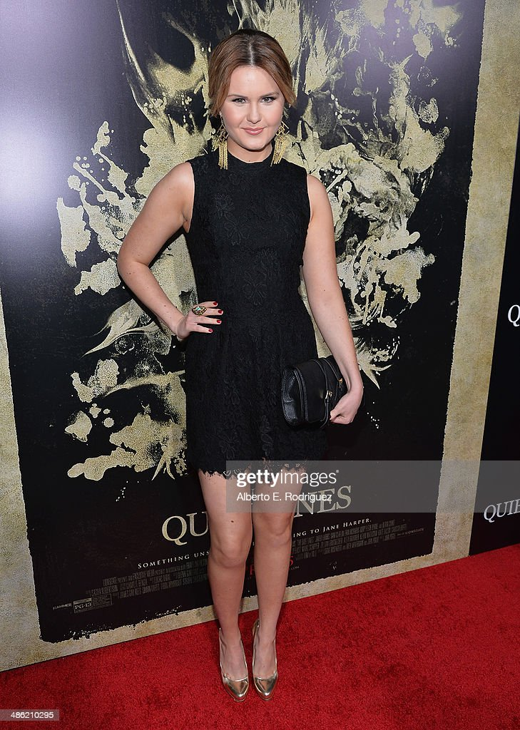 Actress Ashlee Keating arrives to the Los Angeles Premiere of Lionsgate Films' 'The Quiet Ones' at The Theatre At Ace Hotel on April 22, 2014 in Los Angeles, California.