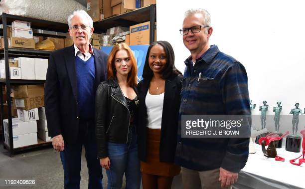 Actress Ashleigh LaThrop poses with Daryl Anderson Vice Chair of the SAG Awards Committee Elizabeth McLaughlin SAG Awards Committee member and Brett...