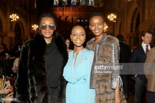 Actress Ashleigh Murray and Flaviana Matata attend the Dennis Basso fashion show at St Bartholomew's Church on February 12 2018 in New York City