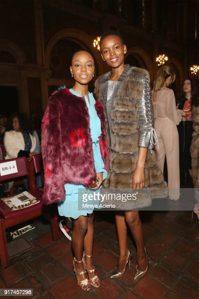 Actress Ashleigh Murray and model Flaviana Matata attends the Dennis Basso fashion show at St Bartholomew's Church on February 12 2018 in New York...