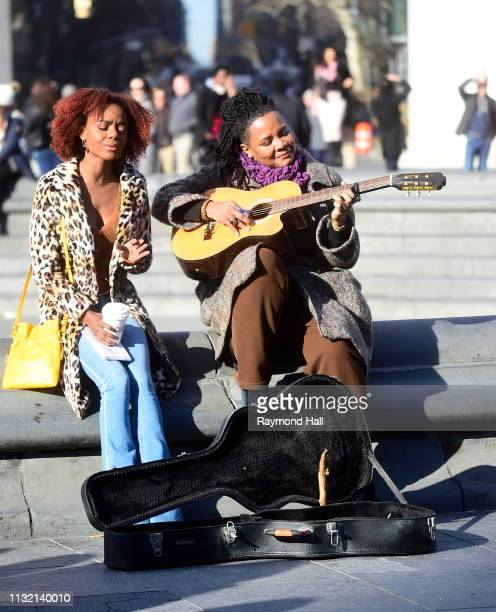 Actress Ashleigh Murray is seen on the set of katy keene in Washington Square Park on March 22 2019 in New York City