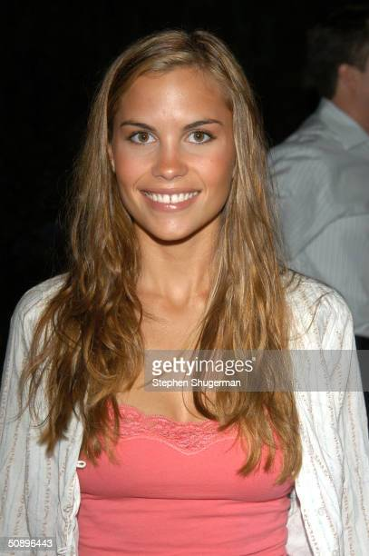 Actress Ashley Bashioum poses at a cake cutting in honor of The Young and the Restless Emmy victories at CBS City on May 25 2004 in Los Angeles...